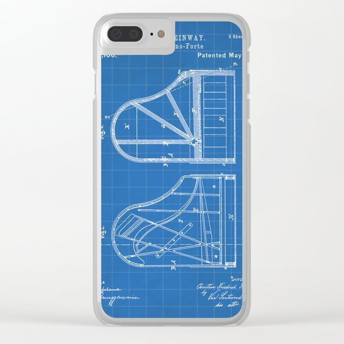 Steinway Grand Piano Patent Piano Player Art Blueprint Clear Iphone Case By Patentpress
