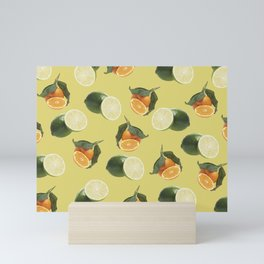 Lime and Clementine Fruits Pattern on Yellow Background Mini Art Print