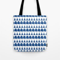 camping Tote Bags featuring camping  by fiona duke designs