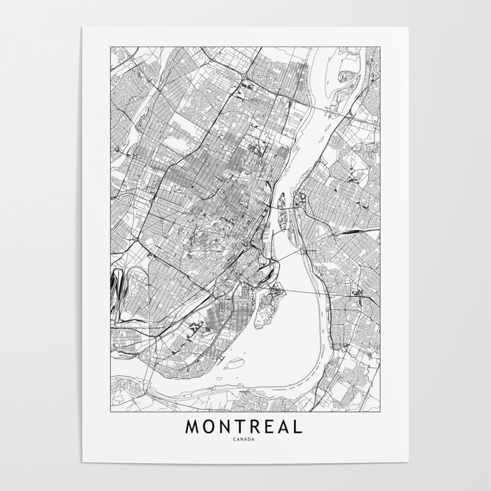 Montreal White Map Poster