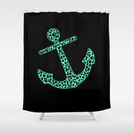 Mint Leopard Anchor Shower Curtain