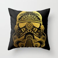 gold foil Throw Pillows featuring Mandala StormTrooper - Gold Foil by Spectronium - Art by Pat McWain