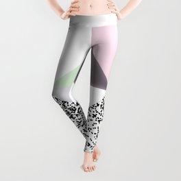 Geometrical black confetti pastel color block Leggings