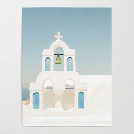 White Church and Church Bells on Santorini Island Greece Oia Poster