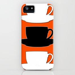 Retro Coffee Print - Black & White Cups on Burnished Orange Background iPhone Case