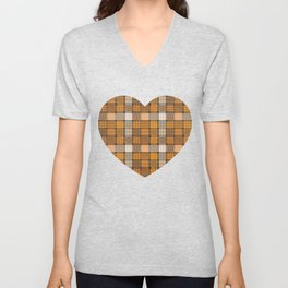 yellow basket weave plaid Unisex V-Neck