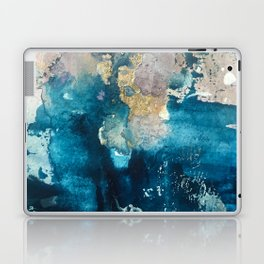 Timeless: A gorgeous, abstract mixed media piece in blue, pink, and gold by Alyssa Hamilton Art Laptop & iPad Skin