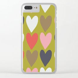 Handdrawn colorful hearts Clear iPhone Case