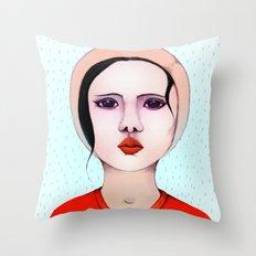 Miss Rain Throw Pillow