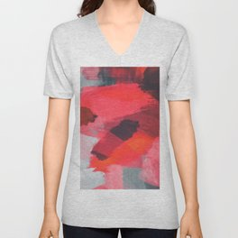 splash painting texture abstract background in red and brown Unisex V-Neck