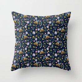 Bumblebees & Spring Flowers - Dark Floral Pattern Throw Pillow