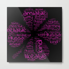 Alyssa name gift with lucky charm cloverleaf words Metal Print