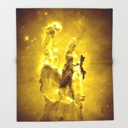 Yellow neBUla Pillars of Creation Throw Blanket