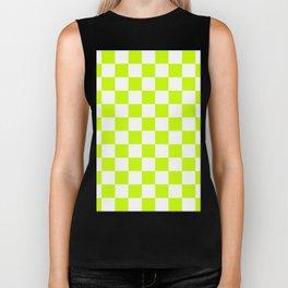 Checkered - White and Fluorescent Yellow Biker Tank