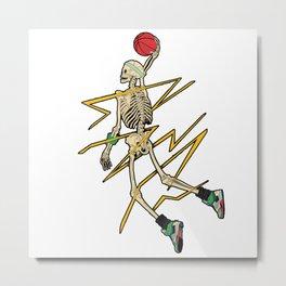 Skeleton basketball dunk Metal Print