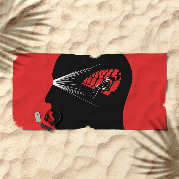 One Man Movie Theatre Beach Towel