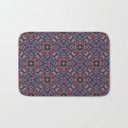 Bright Blue and Orange Beadwork Inspired Pattern Bath Mat