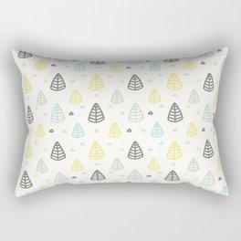 Geometrical gray yellow blue modern leaves Rectangular Pillow