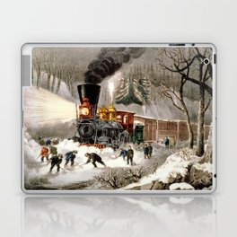 Snow Bound: Vintage Currier & Ives Railroad Scene Laptop & iPad Skin