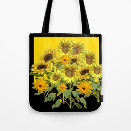 GOLDEN -BLACK SUNNY YELLOW SUNFLOWERS FIELD ART Tote Bag