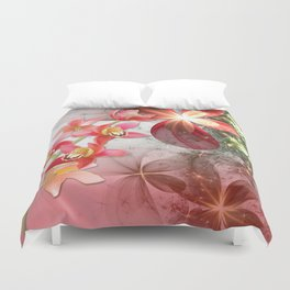 Colorful Orchids & Floral Abstract Duvet Cover