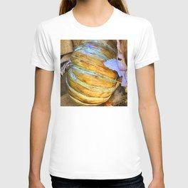 Autumn Pumpkin With Aqua Blue And Green Stripes T-shirt