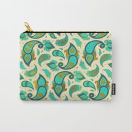 Aquamarine and gold Paisley pattern Carry-All Pouch