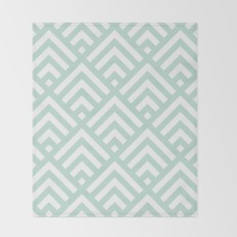 Turquoise Blue geometric art deco diamond pattern Throw Blanket
