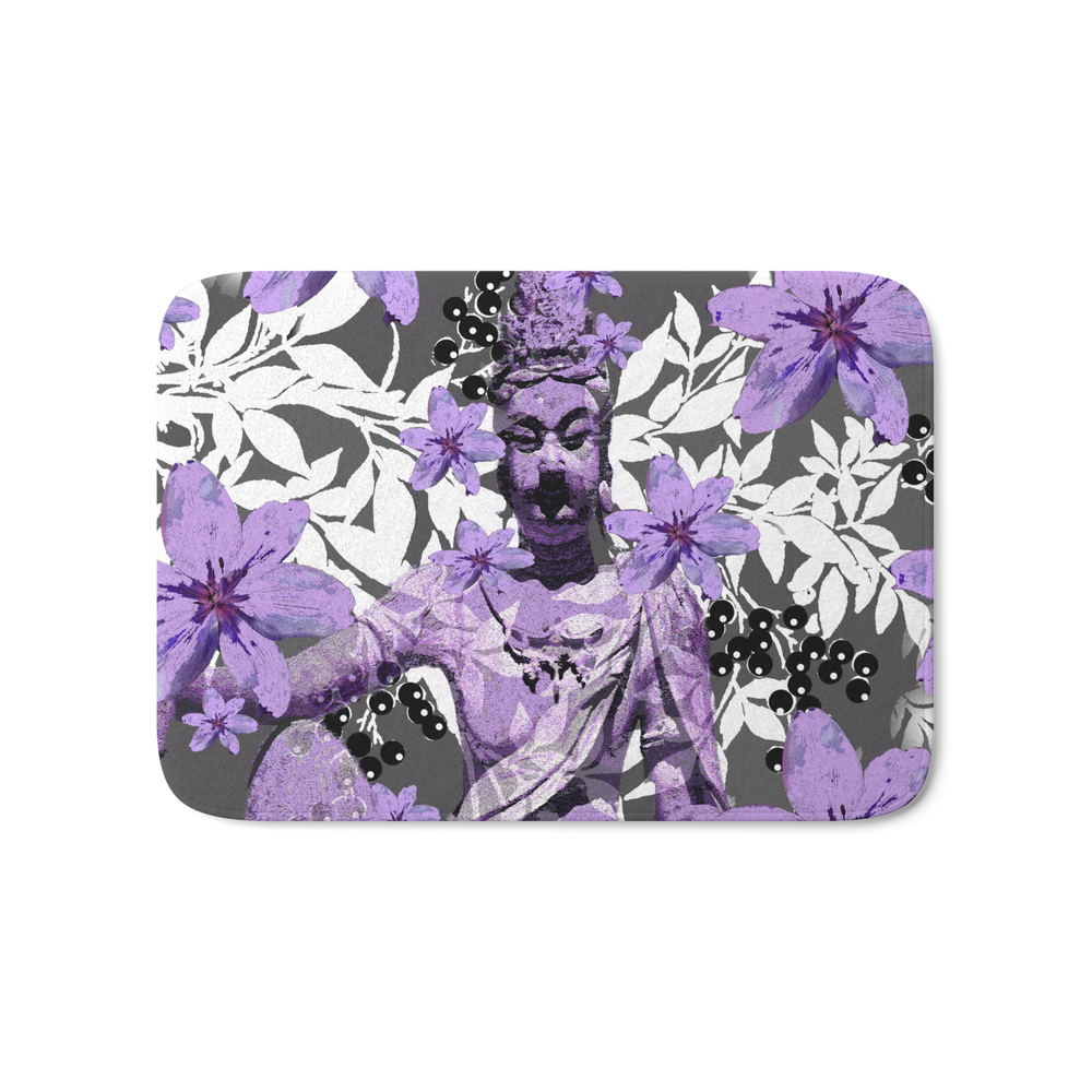China Antiquities Yesterday Meets Today In Purple And White Bath Mat by saundramyles