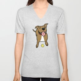 Big Smiley Brown Dog with Tennis Ball Unisex V-Neck