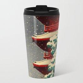 Japanese Woodblock Print Winter Snow Red Pagoda Green Tree Beautiful Composition Travel Mug