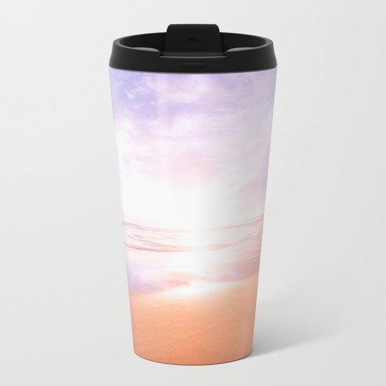 Sunset Beach Scene , Summertime, Pastel Sky Metal Travel Mug