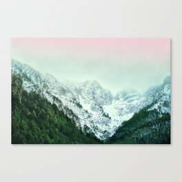 Snowy Winter Mountain Landscape with Alpenglow Canvas Print