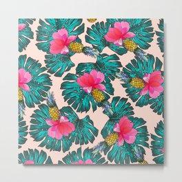 Tropical Pink Green Watercolor Monster Leaves Pineapples Metal Print