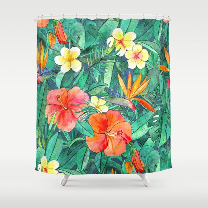 Classic Tropical Garden Shower Curtain by micklyn | Society6