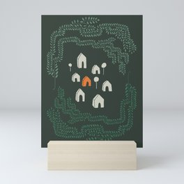Line Vine Border Community Illustration In Green Mini Art Print