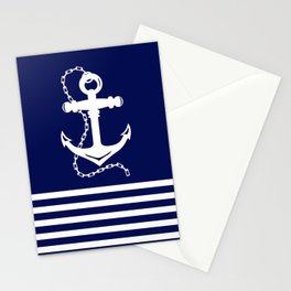 AFE Navy & White Anchor and Chain Stationery Cards