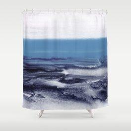 watercolor landscape - blue Shower Curtain