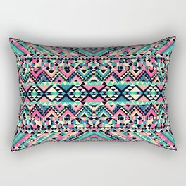 Pink Turquoise Girly Aztec Andes Tribal Pattern Rectangular Pillow