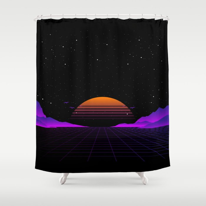 Vaporwave Outrun | Eighties Style Shower Curtain