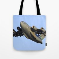 aviation Tote Bags featuring C-17 Globemaster Aviation USAF Take Off by Aviator