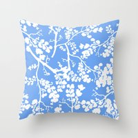 cherry blossom Throw Pillows featuring Cherry Blossom by Elena O'Neill