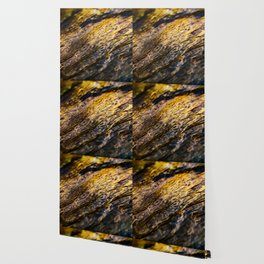 River Ripples in Yellow Gold and Brown Wallpaper