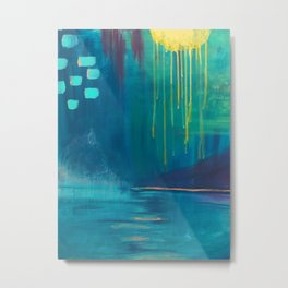 Abstract Water Painting of Dripping Sunshine and Blue Lagoons Metal Print