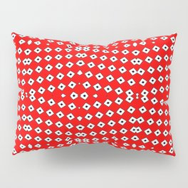 Red Background, White Diamond and Black Spots 2 Pillow Sham