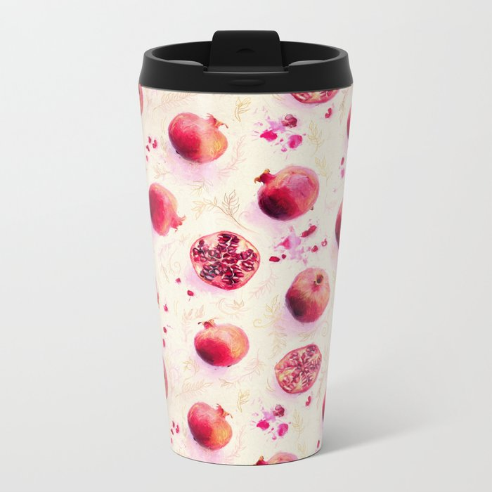 Painted Pomegranates with Gold Leaf Pattern Metal Travel Mug