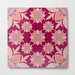 Bohemian ethnic floral pattern- maroon and peach pink Metal Print