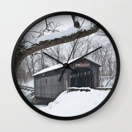 Fallasburg Covered Bridge in Winter Wall Clock