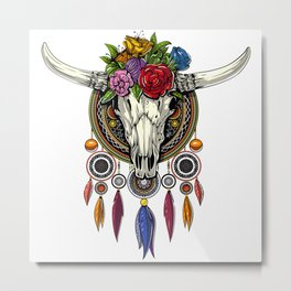 Hippie Cow Skull Dream Catcher Metal Print