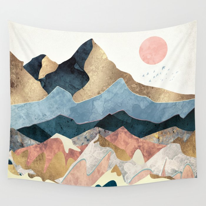 Golden Peaks Wall Tapestry By Spacefrogdesigns Society6